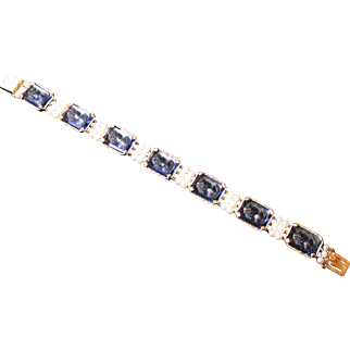 Vintage 14kt Lucien Piccard cultured pearl and blue sapphire colored glass bracelet