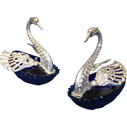 Pair of 800 Silver and Cobalt blue glass Swan Salt Cellars, Circa 1940's.