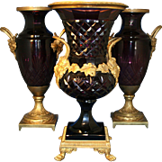 19th Century Russian Ormolu and Amethyst Three Piece Cut Glass Set