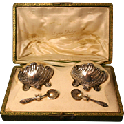 19th Century French Silver Salt Cellars with Spoons and Original Box Set By Louis Coignet