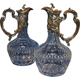 20th Century pair of Sterling Silver and Cut Crystal Jugs by Topázio, Portugal.