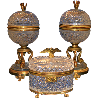 Late 19th early 20th Century 3 Piece Crystal and Gilded Brass Mantel set