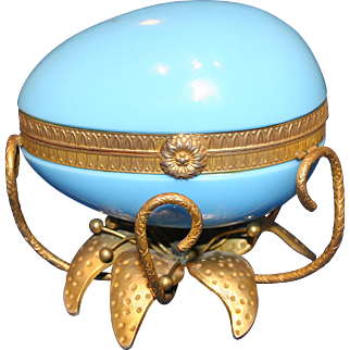 Blue Opaline Egg Mounted on Gilt Flower Base