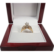 14K Yellow Gold Diamond Marquise Solitaire Ring