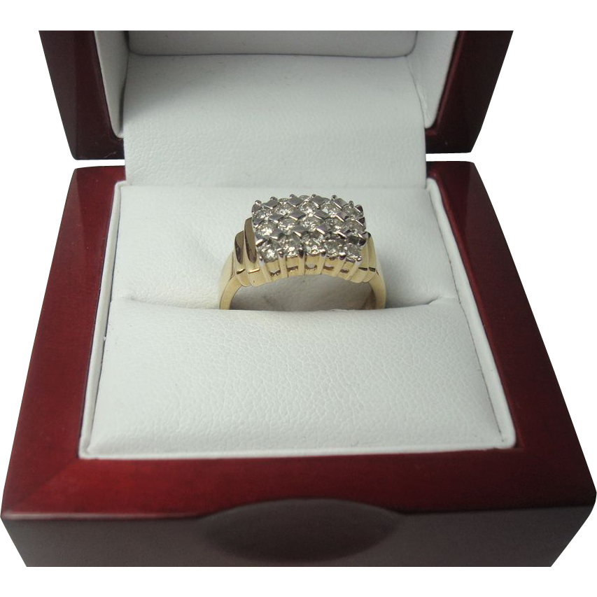 14K Art Deco Style .60 cttw Diamond Ring