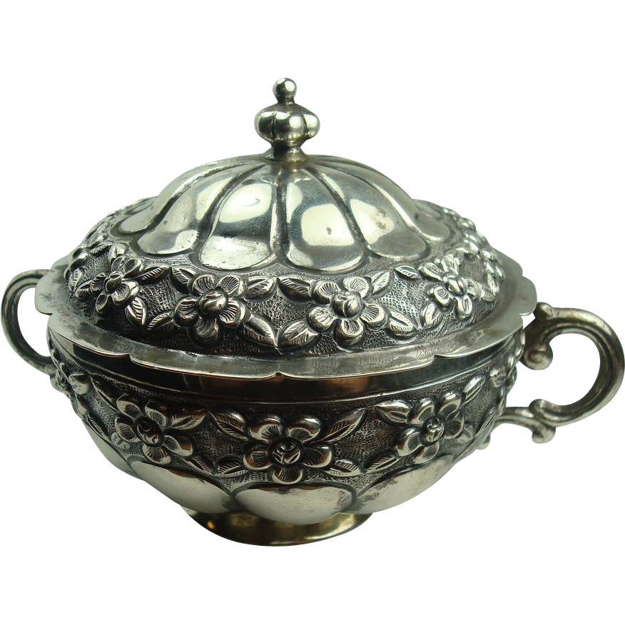 900 Silver Mexican Early 1900's Sugar Bowl