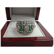 Art Deco 3.90 cttw Diamond and Emerald Platinum Eternity Ring