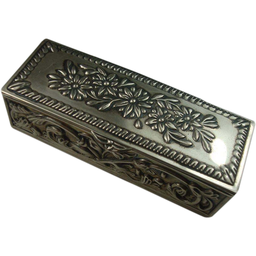 Sterling Floral Trinket Ring  Pill Box