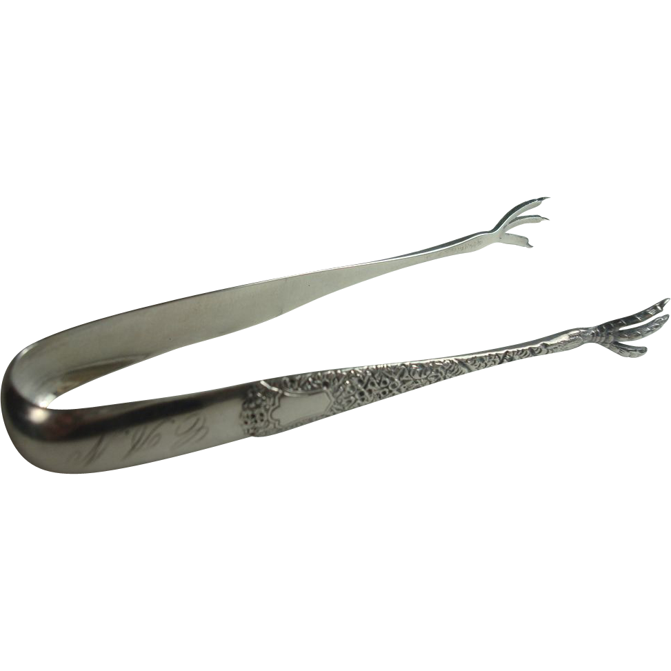 Whiting 1882 Antique Chased Sterling Sugar Tongs