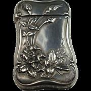 Sterling Floral and Leaf Match Safe Vesta