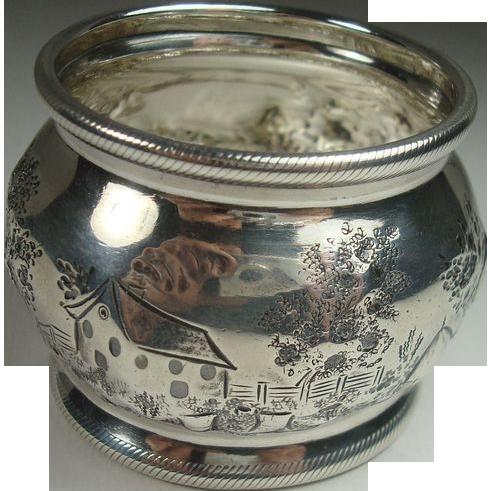 Rare Scenic Coin Silver Napkin Ring