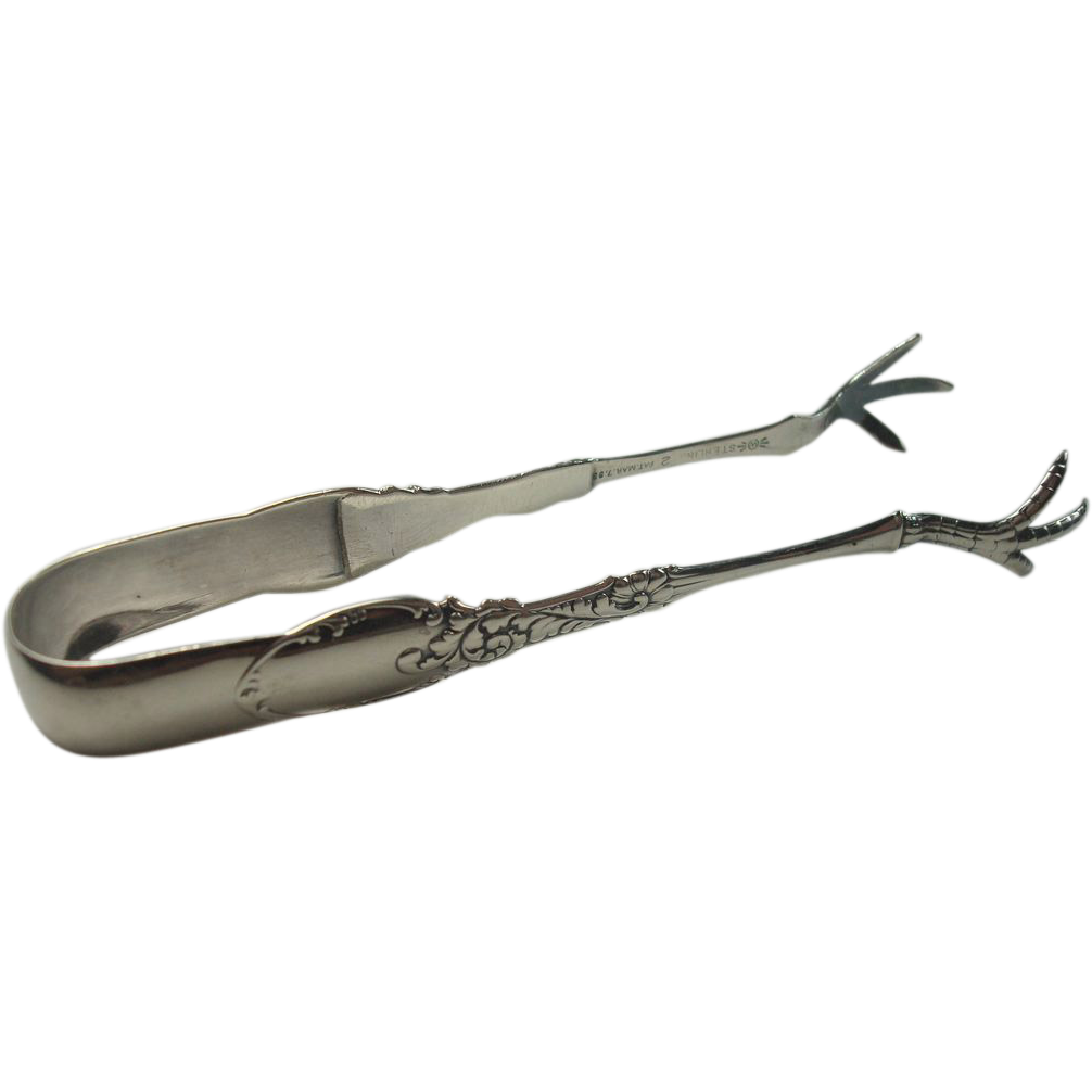 Frank M Whiting 1893 Tyrolean Sterling Sugar Tongs