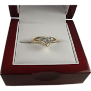 14K Chevron Diamond Ring