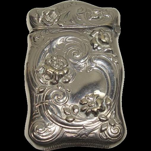 German Silver Floral Match Safe or Vesta