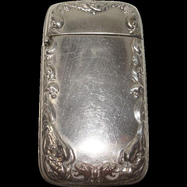 Silver Plate Dragon Match Safe or Vesta