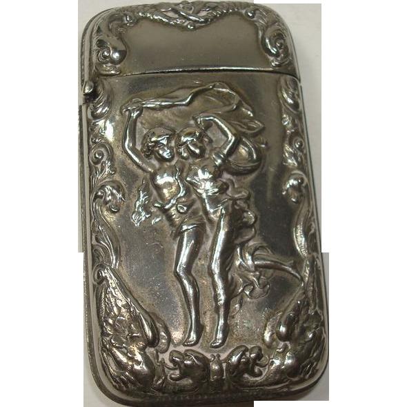 Silver Plate Boy Girl Running Match Safe or Vesta