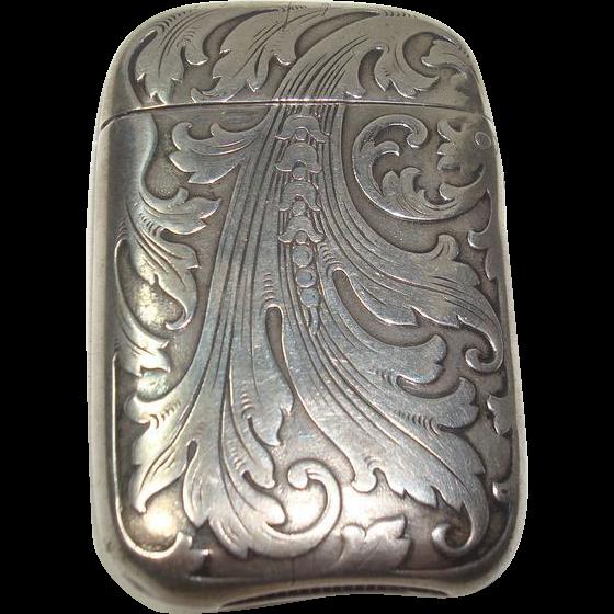 Gorgeous Sterling Acanthus Match Safe or Vesta