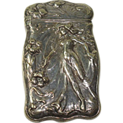 Silver Plate Floral and Nude Women Match Safe or Vesta