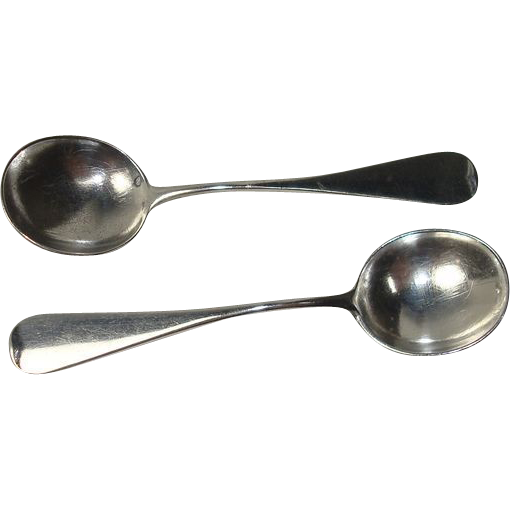 German 800 Silver Fiddle Salt Spoons