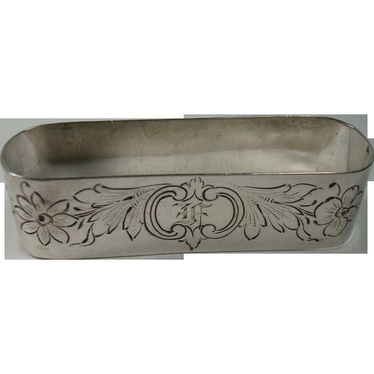 J F Fradley Sterling Floral Napkin Ring