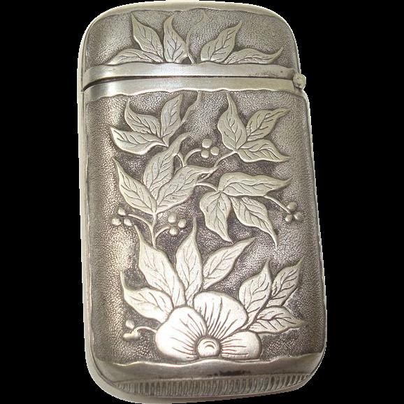 Floral Leaf and Berry Match Safe or Vesta