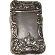 German Silver Art Nouveau Match Safe or Vesta