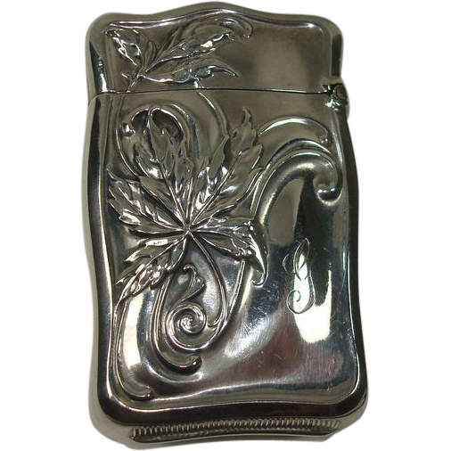 Sterling Leaf Design Match Safe or Vesta