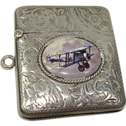 Henry Williamson Ltd 1908 Birmingham Bi-Plane Match Safe or Vesta