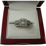 14K 1.03 cttw Three Ring Diamond Wedding Set
