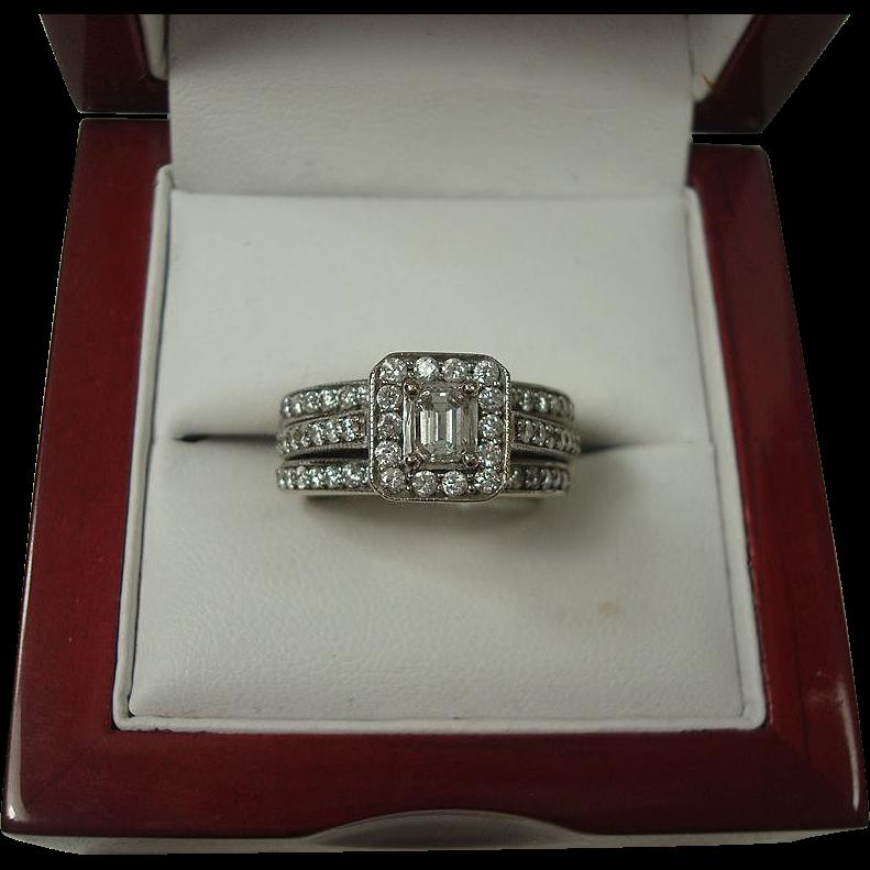 14K 1.03 cttw Three Ring Diamond Wedding Set