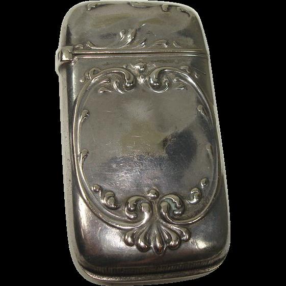 CLOSEOUT!!!!  Watrous c. 1900 Silver Plate Art Nouveau Match Safe or Vesta
