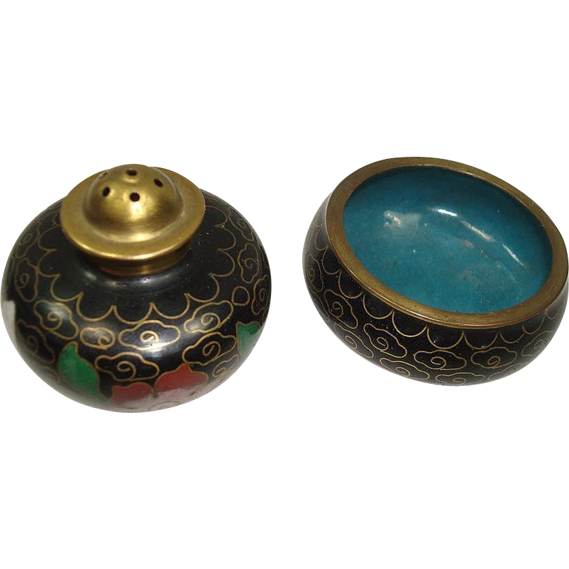 CLOSEOUT!! Vintage Cloisonne Open Salt and Pepper Shaker PLUS Minature Vase