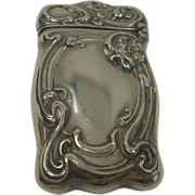 German Silver Floral Art Nouveau Match Safe or Vesta