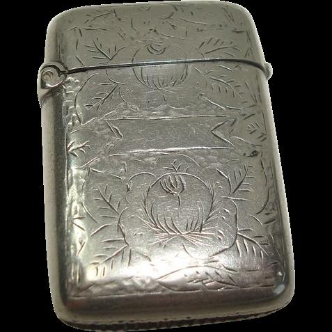 Cute Floral and Leaf Silver Plate Match Safe or Vesta