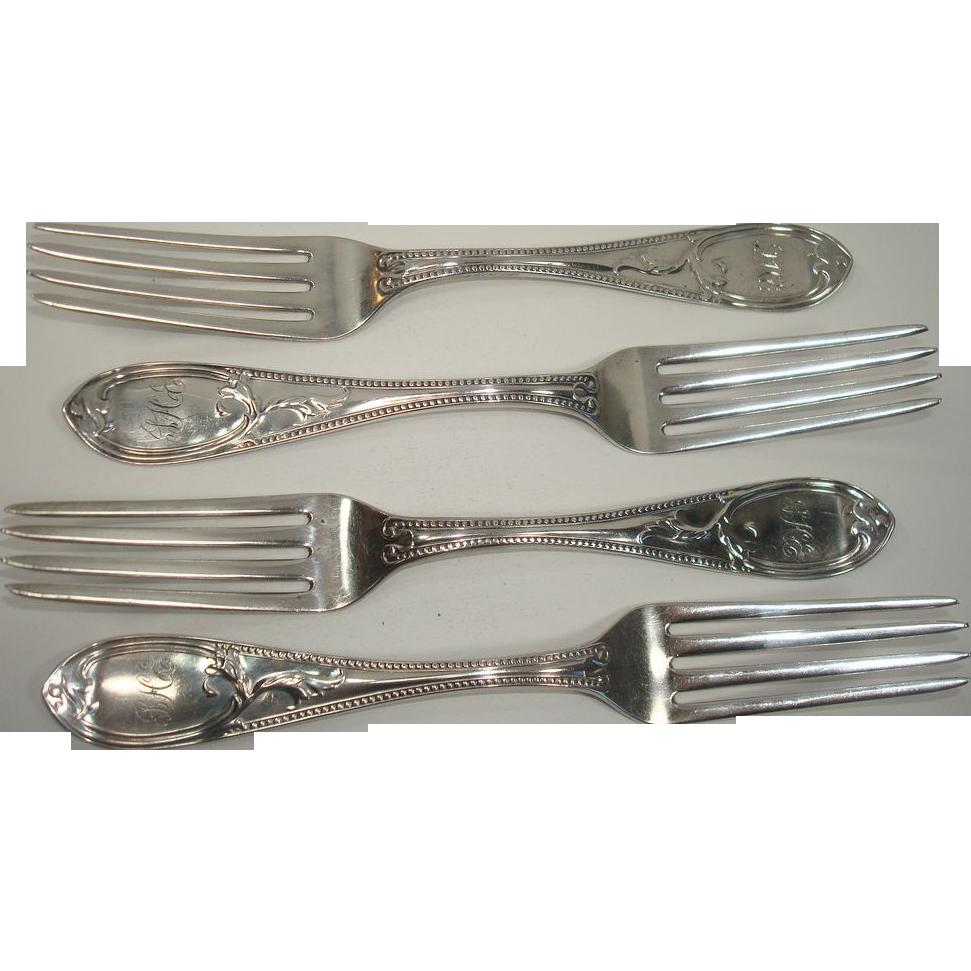 Newell Harding 1850 Coin Silver Dinner Forks