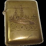 Nautical Themed Brass Match Safe or Vesta