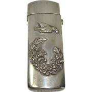 Bird and Floral Motif Nickle Plated Match Safe or Vesta