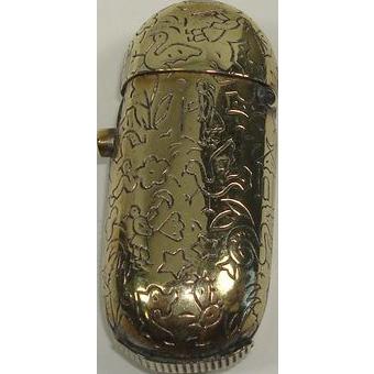 Brass Push Button Match Safe or Vesta