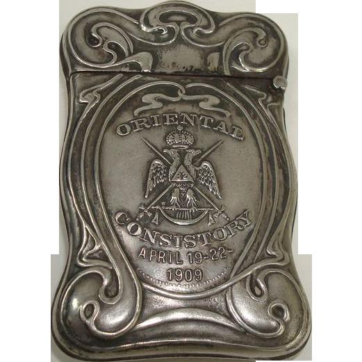 32nd Mason Oriental Consistory 1909 Frank Roundy Match Safe or Vesta