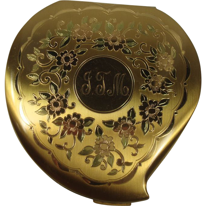 Elgin American Leaf and Floral Heart Shaped Compact