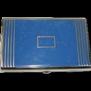 Vintage Coro Art Deco Blue Compact