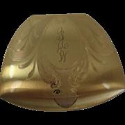 Elgin American Art Nouveau Trapezoidal Gold Toned Compact