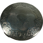 Darling Silver Plate Leaf and Floral Compact