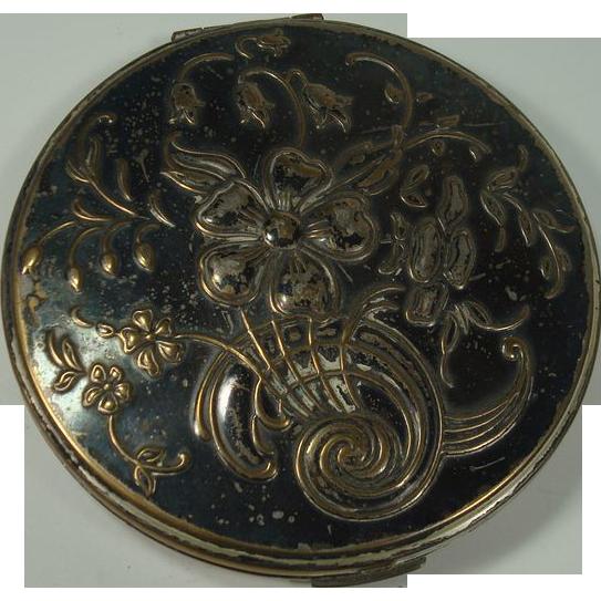 Mary Scott Rowland Art Nouveau Floral Silver Plate Compact