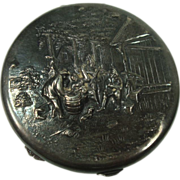 Beautiful Raised Peasant Scenic Silver Plate Compact