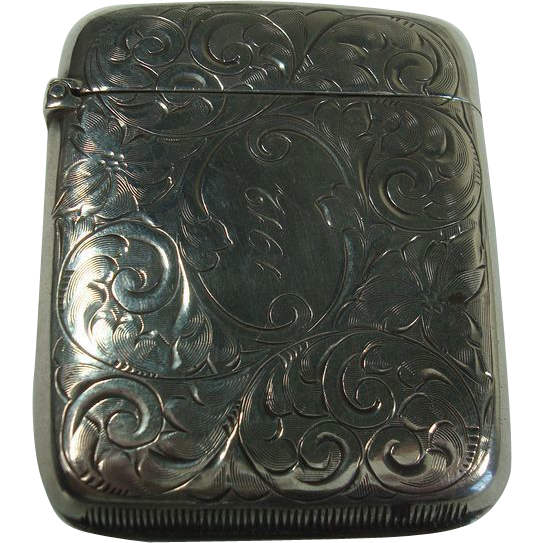 Sterling Art Nouveau Floral 1912 Match Safe or Vesta