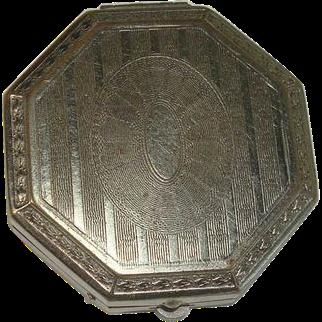 Art Deco Silver Plate Compact or Pill Box