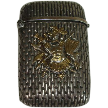 Silver Plate Coat of Arms Match Safe or Vesta