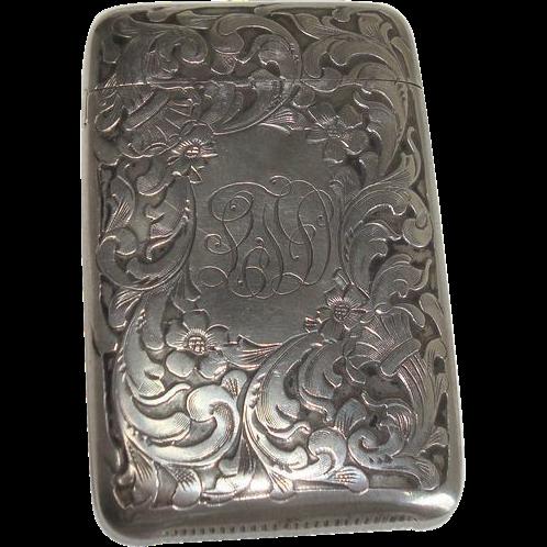 Rare Battin & Co. Art Nouveau Floral Match Safe or Vesta
