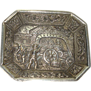 Small Silver Dutch Scenic Dish Pin Tray